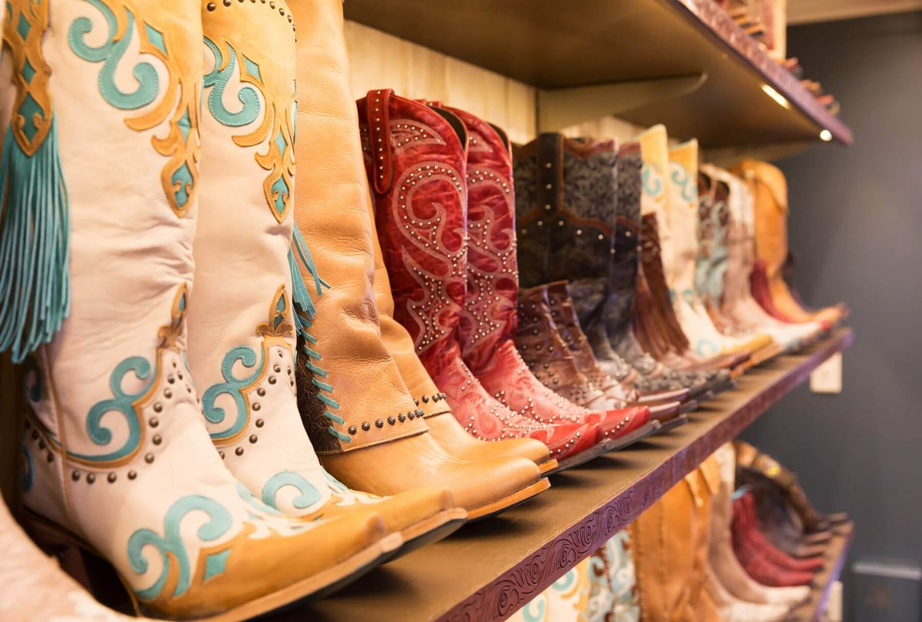 cowboy boots in western shop