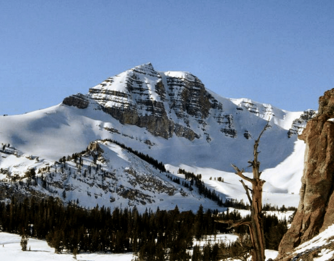 Mountain covered in snow in Cody Wyoming